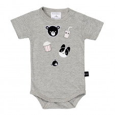 HUXBABY MOVIE PATCH ONESIE GREY MARLE