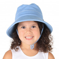 CHAMBRAY BLUE BUCKET HAT WITH STRAP