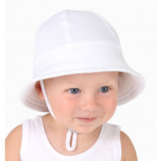 WHITE BABY BUCKET HAT WITH STRAP