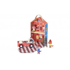 KROOOM FIRE STATION TRAVEL PLAYSET PRINTED CARDBOARD