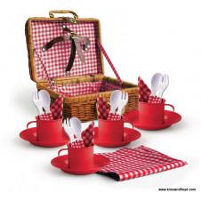 RED ENAMEL PICNIC SET IN A BASKET