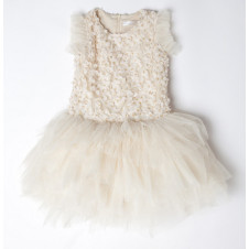 TIARA PETAL EMBELLISHED TUTU DRESS CREAM