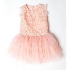 TIARA PETAL EMBELLISHED TUTU DRESS PEACH