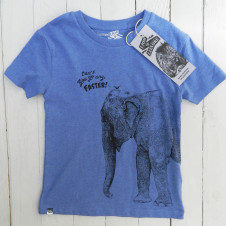 Lion of Leisure elephant and bird tshirt BLUE