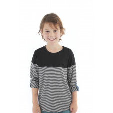 ALEX & ANT BLACK & WHITE STRIPE ROLLED SLEEVE TEE