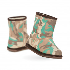 EMU KIDS BRUMBY WATERPROOF CAMO GREEN MERINO WOOL BOOTS