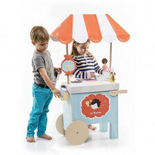 KROOOM ICE CREAM CART PLAYSET PRINTED CARDBOARD AND WOOD
