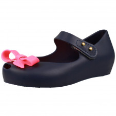 MINI MELISSA ULTRAGIRL NAVY WITH HOT PINK BOW