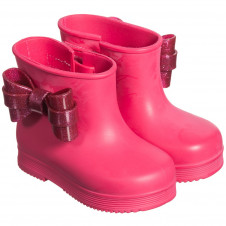 MINI MELISSA PINK WITH PINK BOW RAIN BOOTS