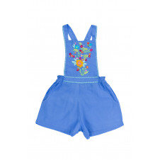 COCO & GINGER POMME PLAYSUIT PERIWINKLE W COLOUR HAND STITCH