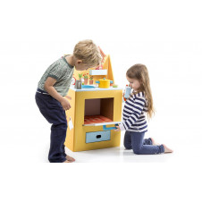 KROOOM KITCHEN PLAYSET PRINTED CARDBOARD AND WOODEN ACCESSORIES