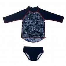 ESCARGOT Nautical Baby Long Sleeve Suntop Set